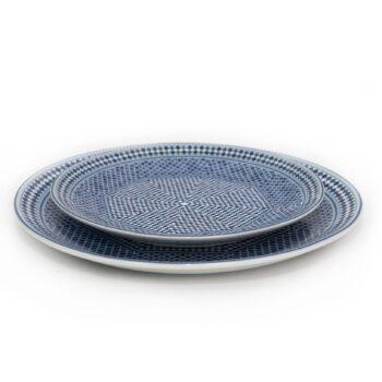 ensemble deux assiettes 20 et 25 cm en porcelaine Minyadina gamme bleu de fès