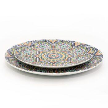 ensemble deux assiettes 20 et 25 cm en porcelaine Minyadina gamme Zellige