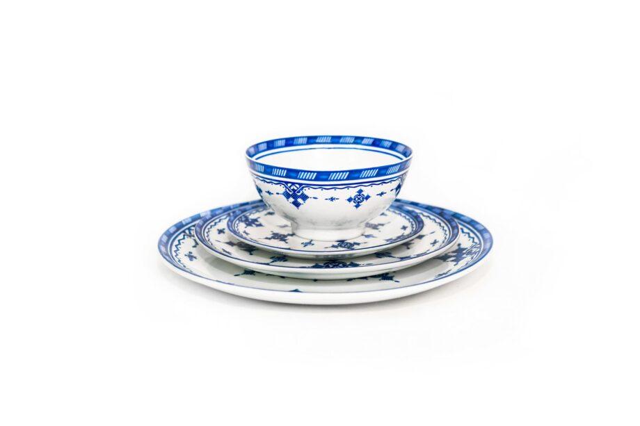 ensemble bol et assiettes en porcelaine Minyadina gamme bleu berbère
