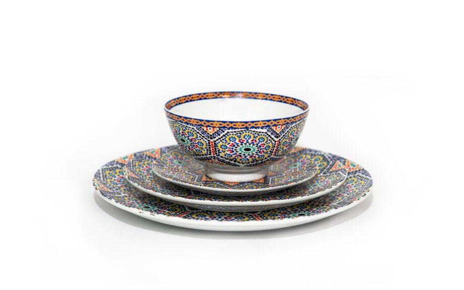 ensemble bol et assiettes en porcelaine Minyadina gamme Zellige