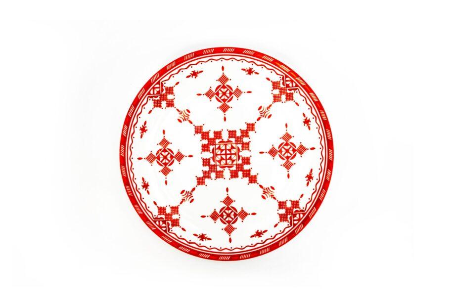 assiette en porcelaine Minyadina gamme rouge berbère